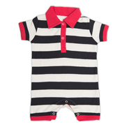 Nino Bambino Striped Polo Neck Half Romper - White & Black