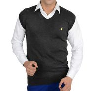 Branded Regular Fit Cotton Sweater_Os15 - Dark Grey