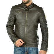 Branded Regular Fit Leather Jacket_Os21 - Brown