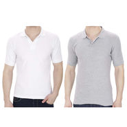 Pack of 2 Oh Fish Plain Polo Neck Tshirts_P2grywht - Grey & White