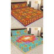 Set of 2 Traditional Jaipuri Print 100% Cotton Ethnic Double Bed sheets With 4 Pillow Covers -PF107DWP2B