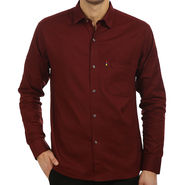Fizzaro Plain 100% Cotton Casual Shirt_Plcs06 - Maroon