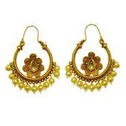 Pourni Stylish Brass Earring_Prer42 - Golden