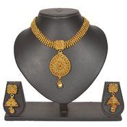 Pourni Stylish Brass Necklace Set_PRNK119 - Golden