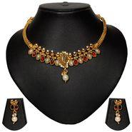 Pourni Stylish Brass Necklace Set_Prnk40 - Golden
