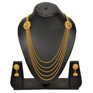 Pourni Stylish Brass Necklace Set_Prnk56 - Golden