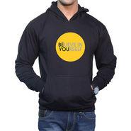 Effit Printed Regular Fit Full Sleeves Cotton Hoddies for Men - Black_PTLHODY0024