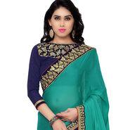 Indian Women Moss Chiffon Printed Saree -RA10612
