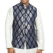 Runako Silk Sleeveless Nehru Jacket_RK4125 - Blue
