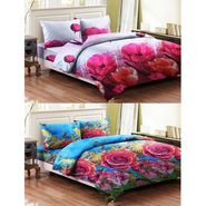 Bellamata Multicolor 3D Print 2 Double Bedsheet With 4 Pillow Covers-RMC03
