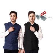 RPB Lined Cotton Nehru Jacket - Black & Blue