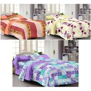 Set of 3 Cotton Single Bedsheet With 3 Pillow Cover-SP_1214_1215_1216