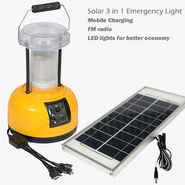 SUI 3 in 1 Solar Lantern with Mobile Charging, Emergency Light & FM Radio - Peach & Black