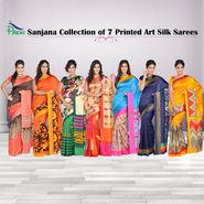Sanjana Collection of 7 Printed Art Silk Sarees by Pakhi (7A13)