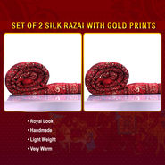 Set of 2 Jaipuri Silk Razai with Gold Prints