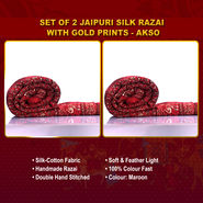 Set of 2 Jaipuri Silk Razai with Gold Prints - AKSO