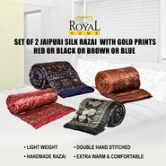 Set of 2 Jaipuri Silk Razai with Gold Prints - Red or Black or Brown or Blue