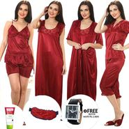 Set of 7 Mia Satin Nightwear - Maroon