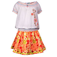 ShopperTree Skirt With Top for Girl - White & Yellow