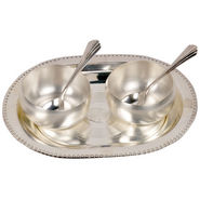 Silver Polish 2 Brass Bowl 2 Spoon and Tray Set 334