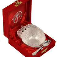 Silver Polished Apple Shape Brass Bowl and Spoon 272