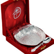 Silver Polished Apple Shape Brass Bowl and Spoon 273