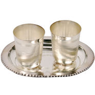 Silver Polished Designer 2 Brass Glass and Tray 335