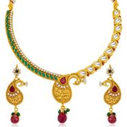 Sukkhi Pretty Peacock Gold Plated Necklace Set - Golden - 2120NKDV2750