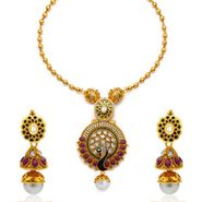 Sukkhi Lavish Peacock Antique Gold Plated Necklace Set - Golden - 2143NKDS4400