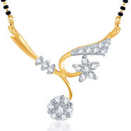 Sukkhi Gold Finished Mangalsutra Pendant - White & Golden - 118M400