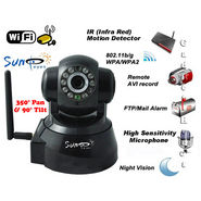 Suneyes Wireless + LAN Wi-Fi PT IP CCTV Camera Webcam Supports Dynamic IP AV CMOS (Black)