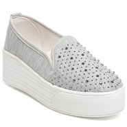 Ten Fabric Grey Women Moccasin -tn28
