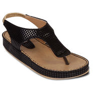 Ten Artificial Leather Black Sandals -ts17
