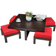 Purple Heart Trendy Coffee Table With Four Stools- Red