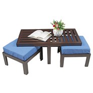 Purple Heart Trendy Coffee Table With Two Stools- Blue