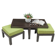 Purple Heart Trendy Coffee Table With Two Stools- Green