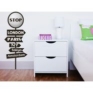 Direction Street Pole Wall Decal Sticker with White Lamp light at Stop Sign-ULWLS-STOP