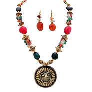 Urthn Antique Necklace Set - Multicolour - 1102524