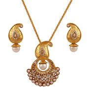 Variation Pearl Gold Plated Party Wear Pendant Set_Vd14212