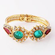 Variation Red & Green Crystal Openable Bangle_Vd11547