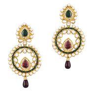 Variation Purple & Green Pearl Kundan Fashion Dangle Earring_Vd13909