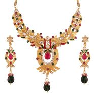 Variation Pink & Green Ethnic Kundan Gold Plated Necklace Set_Vd14205