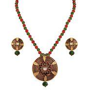 Variation Red & Green Meenakari Crystal Semi Necklace Set_Vd15344