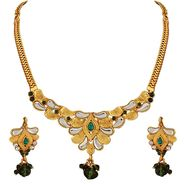 Variation Green Kundan Gold Plated Semi Necklace Set_Vd15745