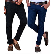 Pack of 2 Velgo Club  Plain Comfort Fit Cotton Lycra Chinos_12415129