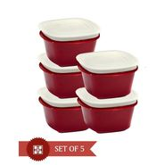 Cutting Edge Microwaveable Veggie Fresh 2000 ml Containers Set Of 5 Red VF12-R