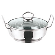 Vinod 202 260mm Induction Friendly Kadai with Tempered Glass Lid - Silver