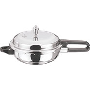 Vinod Induction Friendly SS Sandwich Bottom Pressure Pan With Lid - Silver PPWC- JU