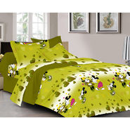 Valtellina Cartoon Design  With Heart Print  Green Color Double bedsheet With 2 Pillow cover