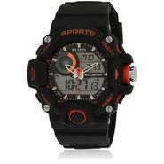 Fluid Analog & Digital Round Dial Watch For Unisex_d06or01 - Black & Orange
